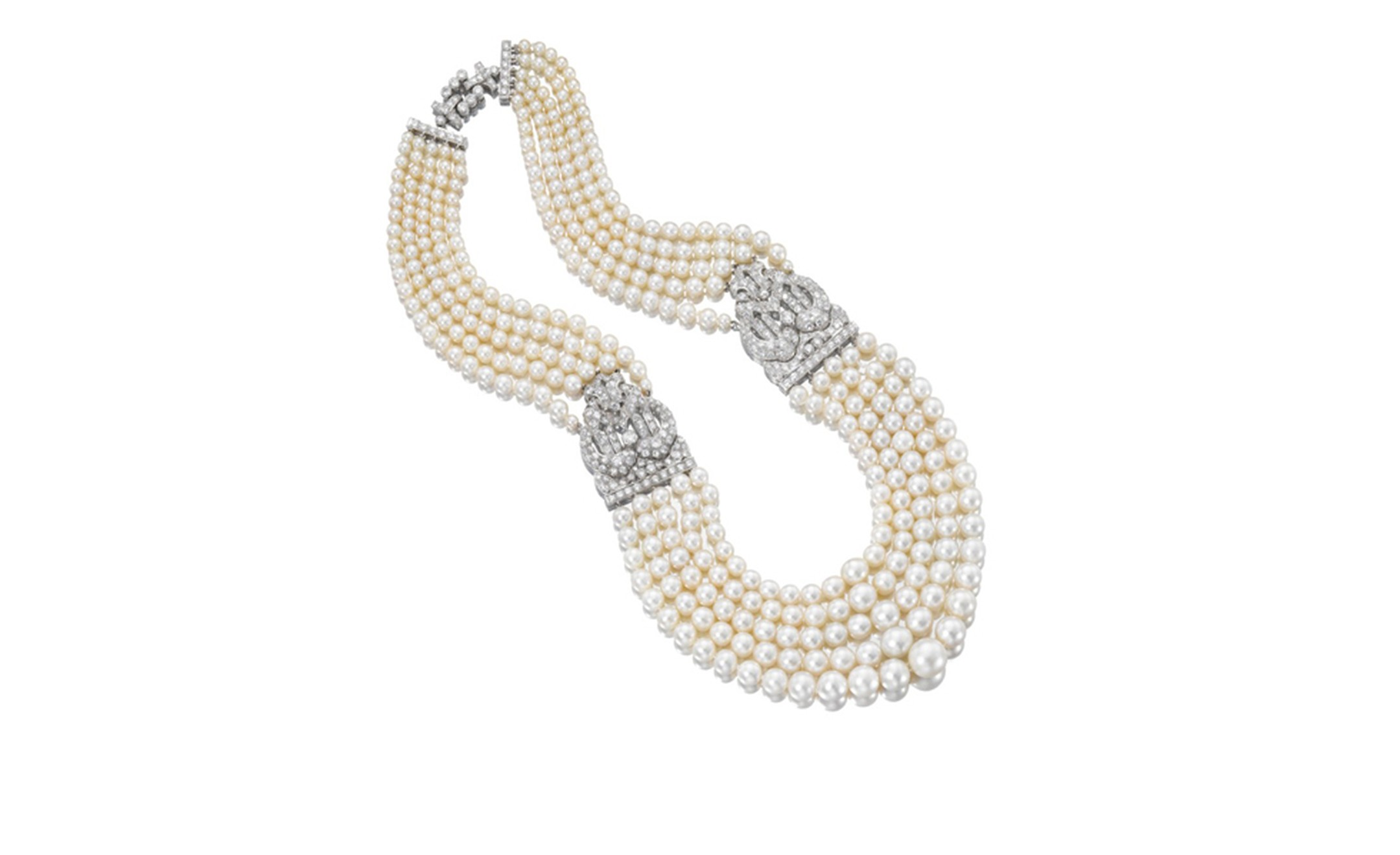A very fine natural pearl and diamond necklace, Cartier, 1930s + reports. Estimate CHF 700'000 – 1'100'000/ US$ 775'000 – 1'240'000