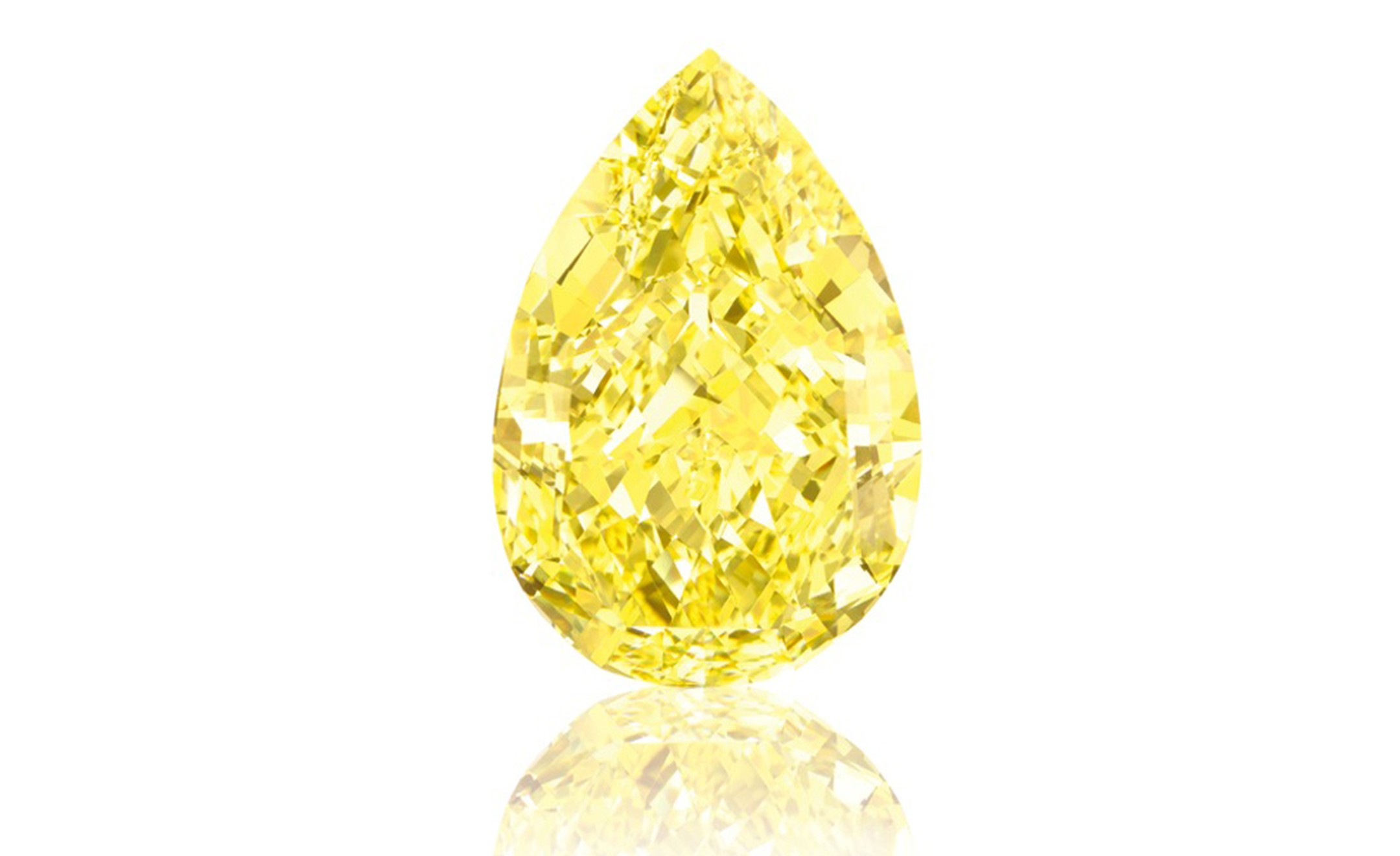 The Sun-Drop Diamond. 110.03 Carats. Graded Fancy Vivid Yellow, the highest colour grading for a yellow diamond, by the Gemological Institute of America (GIA). Estimate: $11-15 million