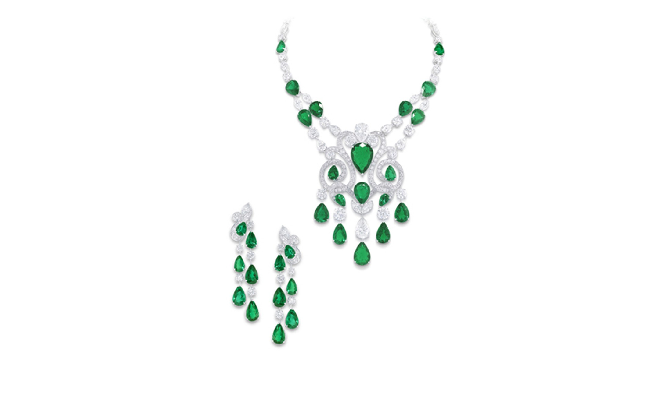 GRAFF. Emerald Scroll Necklace and Earrings. POA