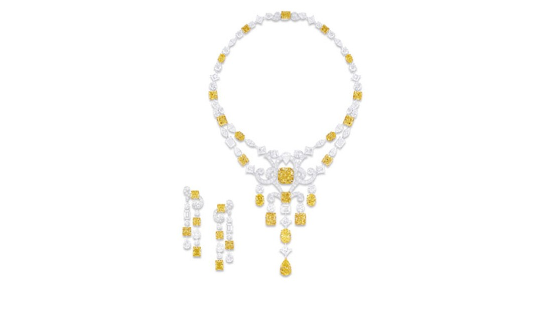 GRAFF. Multishape Yellow and White Diamond Scroll Motif Necklace and Earrings. POA