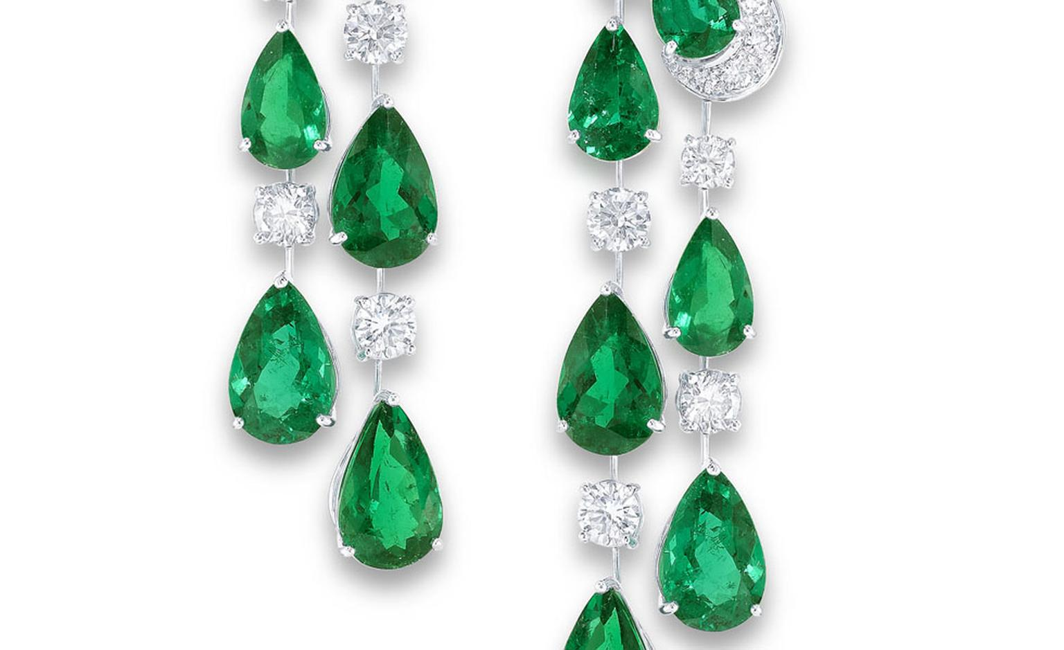 GRAFF. Emerald Earrings close up.