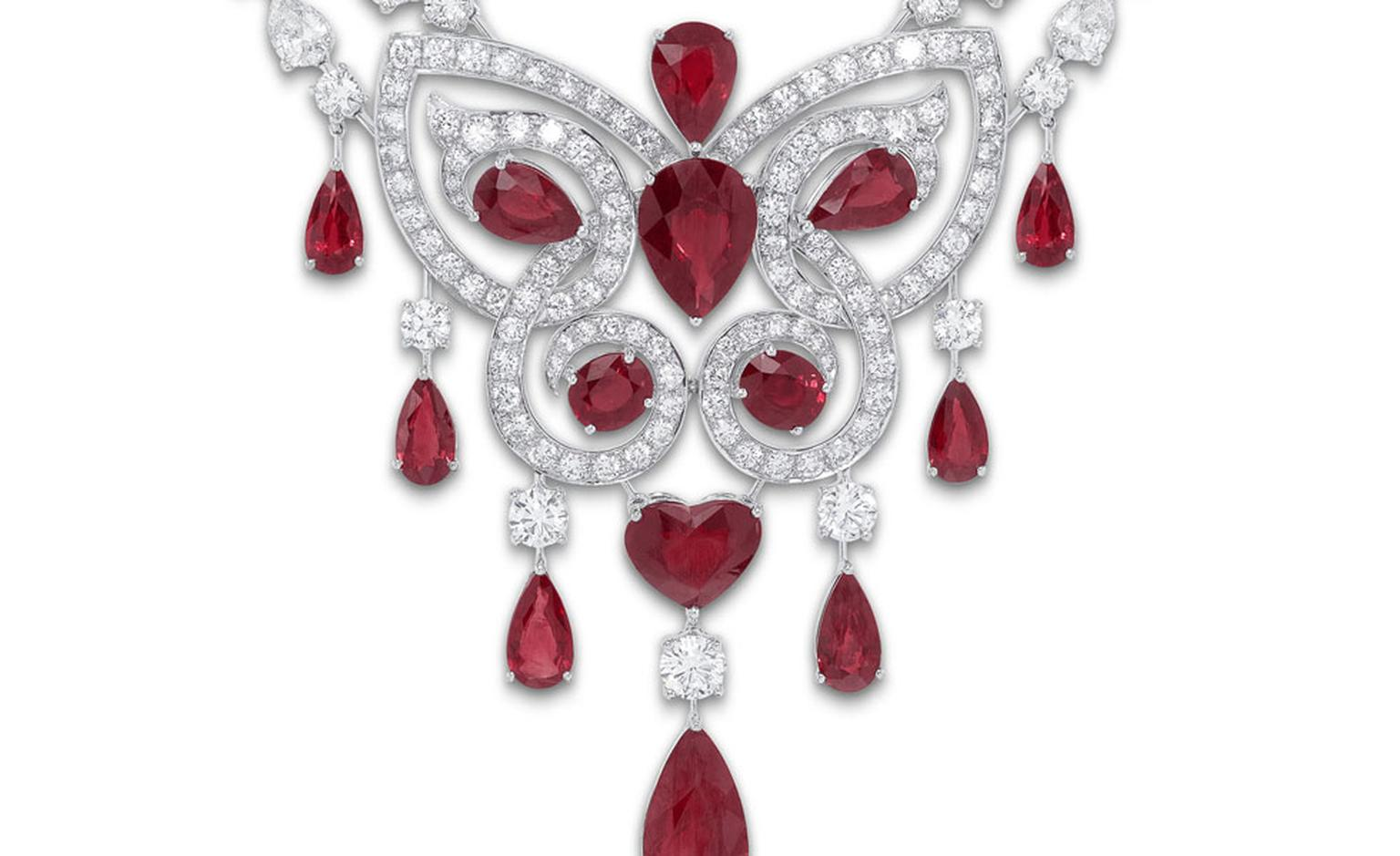 Ruby and Diamond Butterfly Motif Scroll Necklace close up.