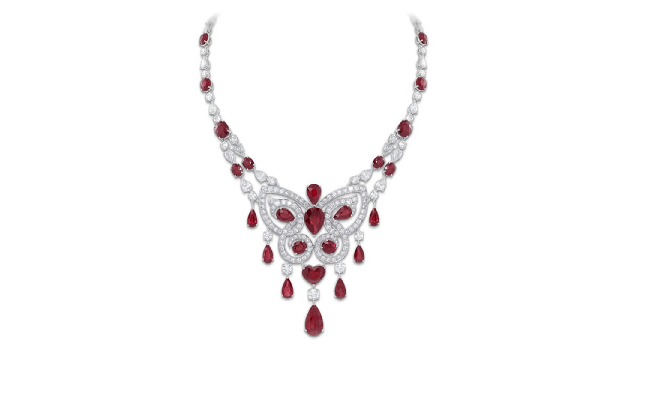 GRAFF. Ruby and Diamond Butterfly Motif Scroll Necklace. POA.