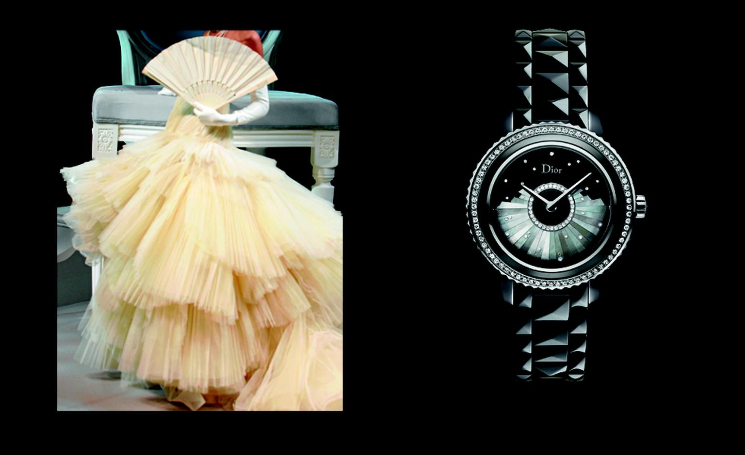 Dior VIII Grand Bal Plisse with mother of pearl and diamonds. POA.