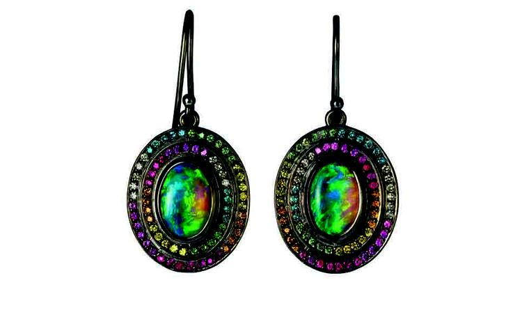 Solange Azagury-Partridge, Opal Fruit earrings in blackened white gold and opal. Price From £15,800