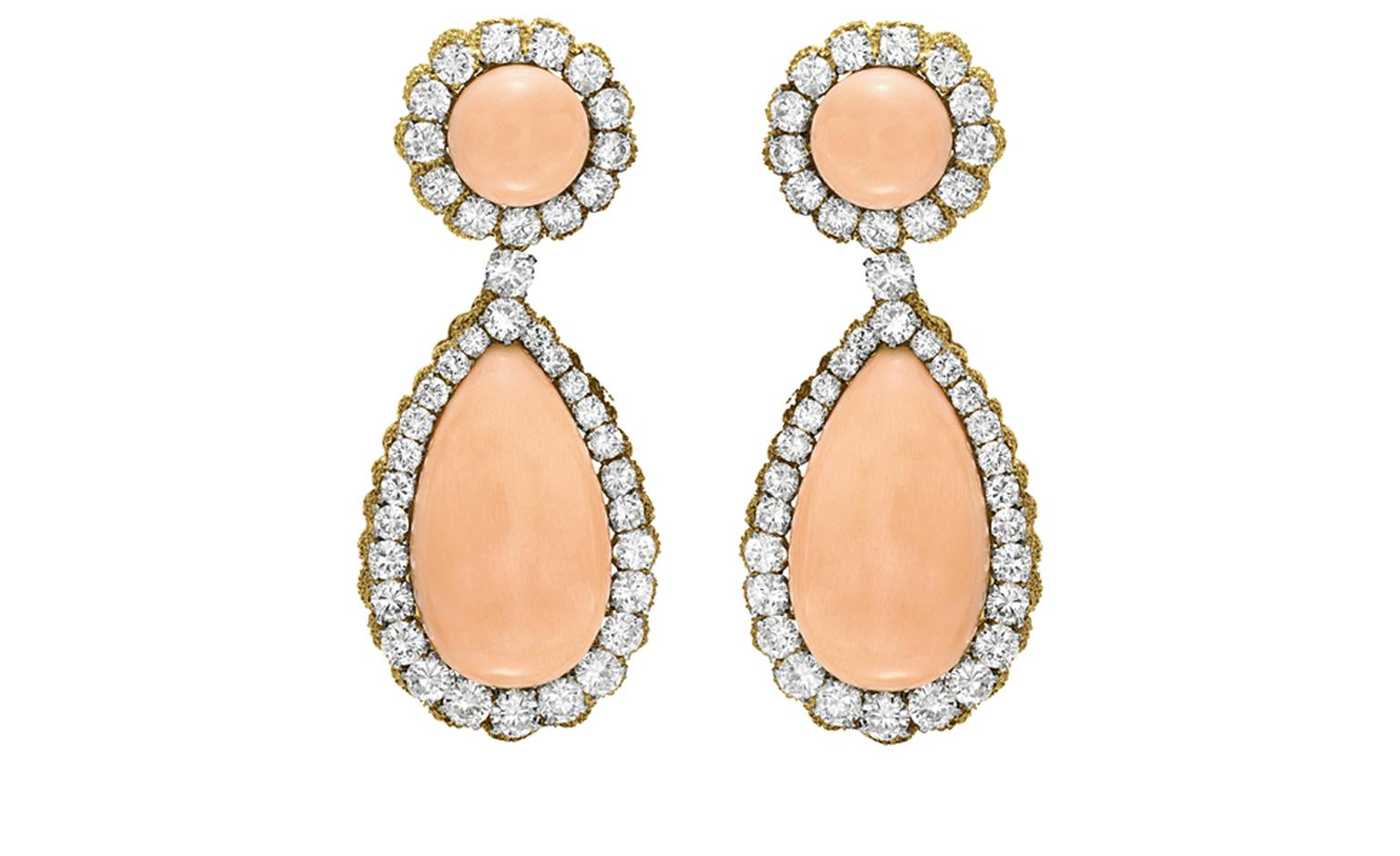 Van Cleef & Arpels. Larmes Coral, Diamond and Yellow Gold ear pendants (1969). © Christie's Images 2011. POA.