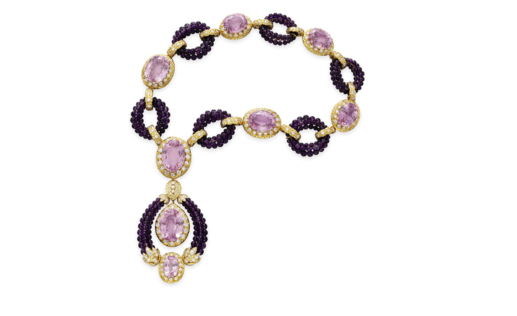 Van Cleef Arpels. Triphanes Amethyst Kunzite Diamond and Yellow Gold Necklace 1973.© Christie's Images 2011. POA.