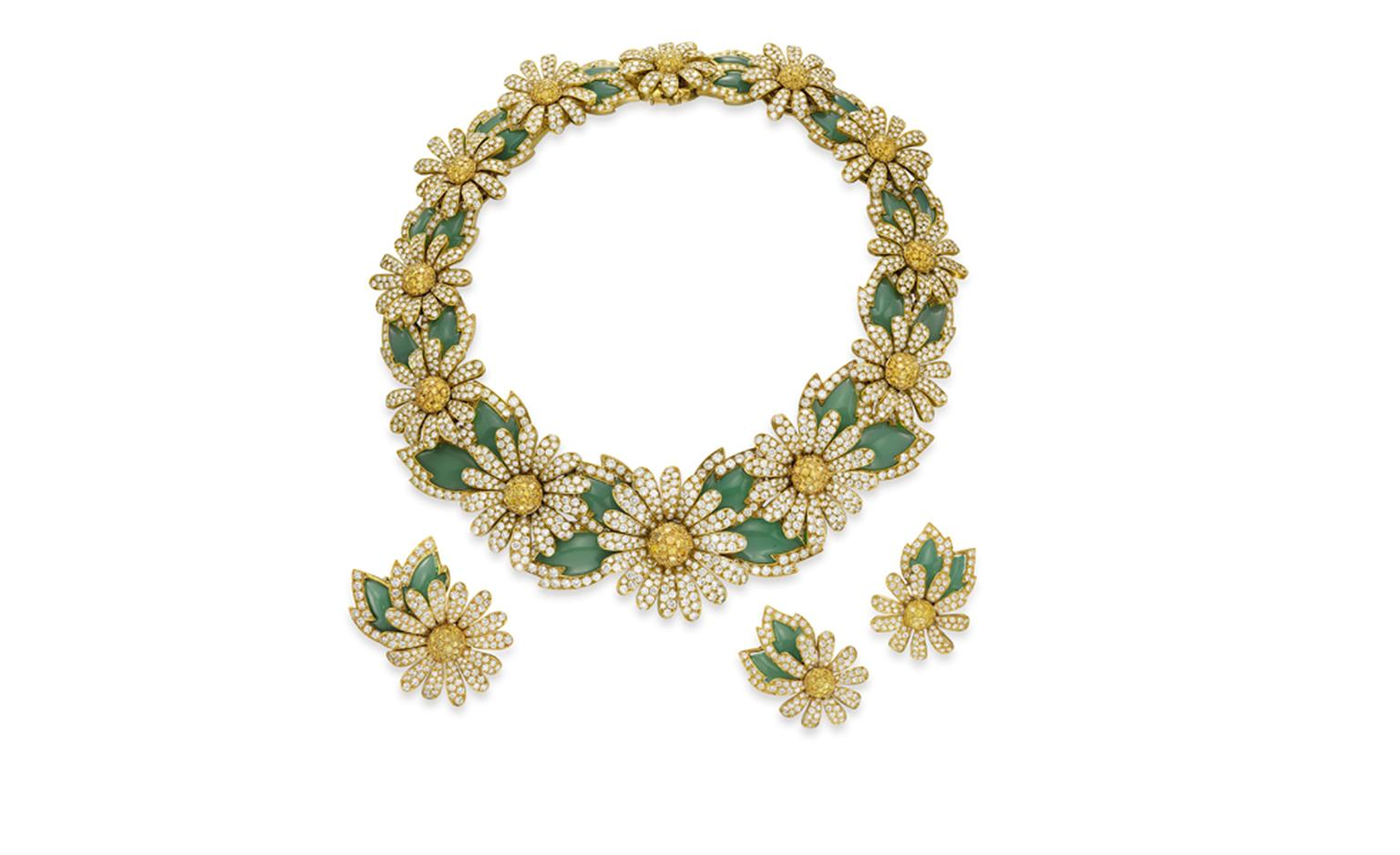 Van Cleef & Arpels. Reine Marguerite White and Yellow Diamond, Chrysoprase and Yellow Gold Necklace, Brooch and ear clips (1990 – 1993). © Christie's Images 2011. POA.