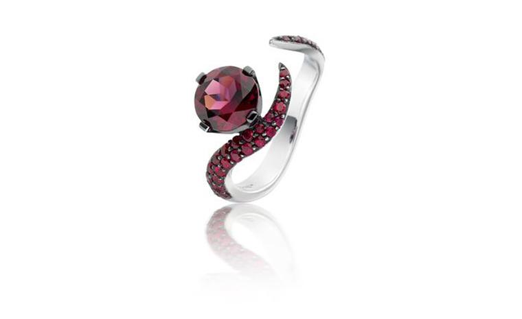 Astley Clarke, Aurora white gold ring with rhodalite and rubies £1,890