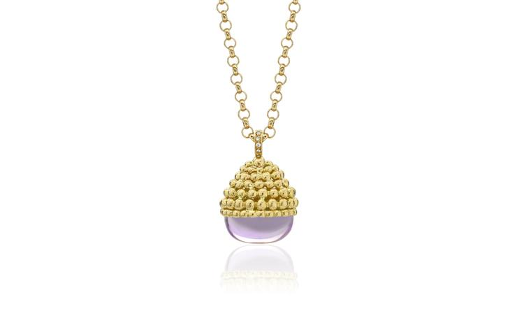 Kiki McDonough, Amethyst pendant with gold honeycomb detail £2,900