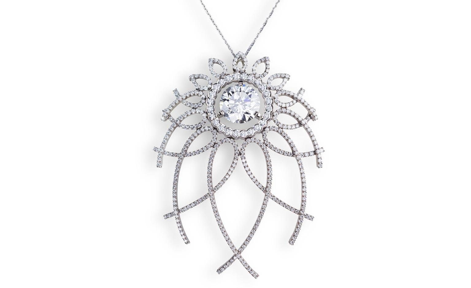 Fabergé Carnet de Bal Trelliage pendant with a 4-carat white diamond. The design is inspired by the 1892 Diamond Trellis Imperial Egg by the original Peter Carl Fabergé. POA