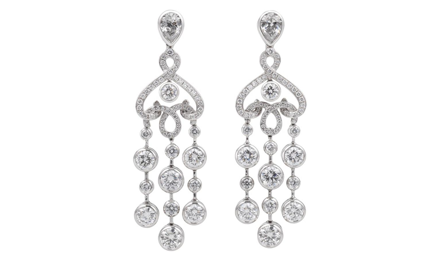 Fabergé Carnet de Bal White Damask earrings inspired by the damask table cloths used to drape banquet tables in Russia in the early 20th century. POA