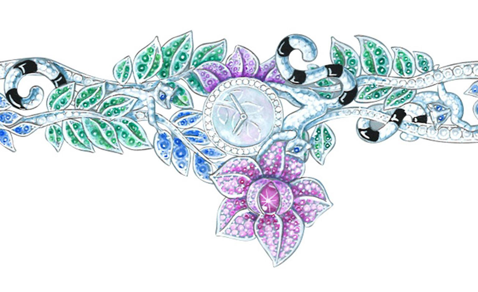 Van Cleef & Arpels Les Voyages Extraordinaires gouache of jewellery watch featuring exotic flora and fauna.