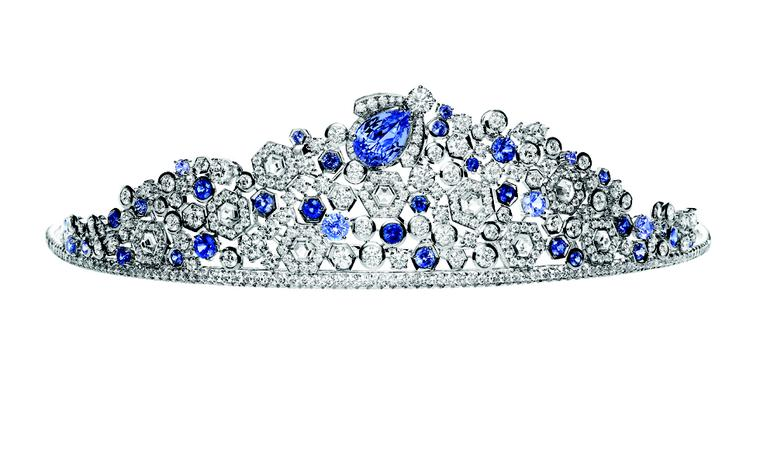Chaumet Bee My Love tiara with sapphires and diamonds. The crowning glory of the tiara, a blue bee, lifts out and can be worn as a brooch.