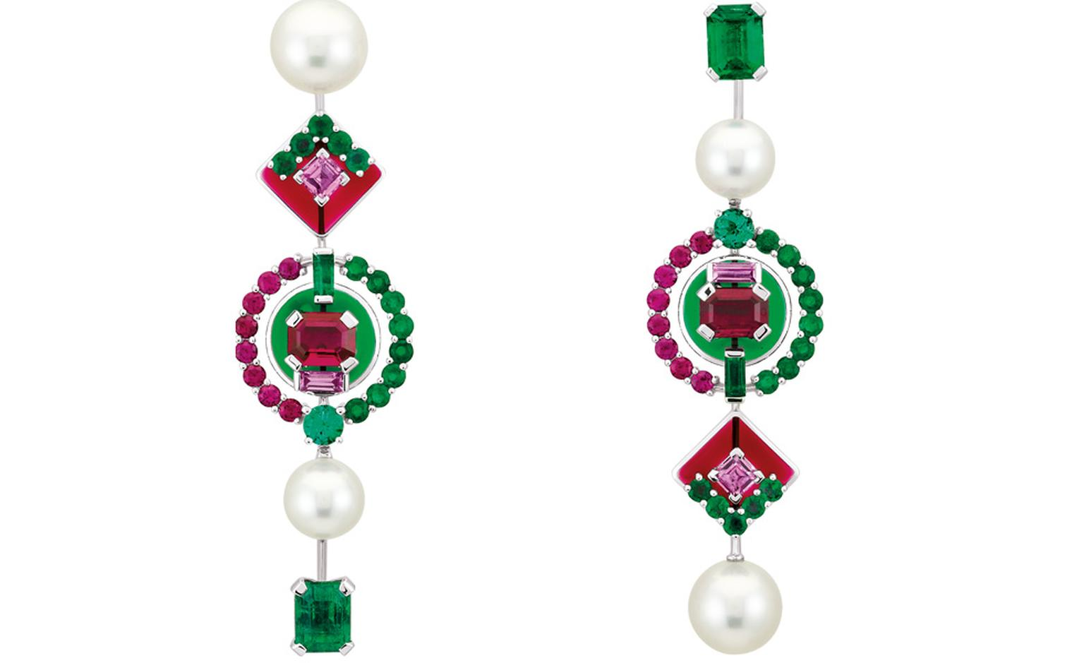 Chanel's Mosaïque design brings the rich hues of emeralds, rubies, pearls and pink sapphires into a rich tapestry of colour from the Secrets D'Orient collection. POA