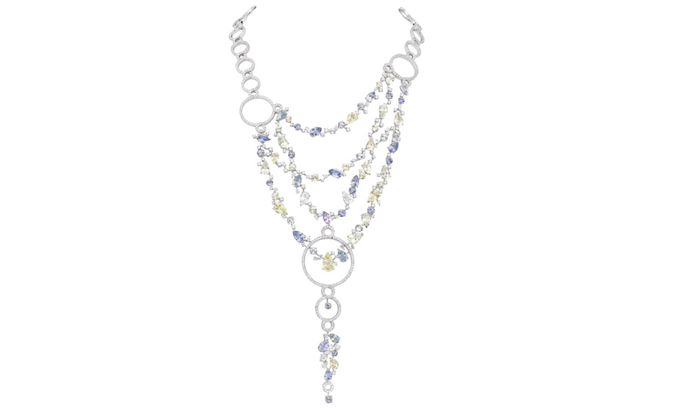 Chanel's Vénitienne necklace with multi-coloured sapphires and diamonds is inspired by Venice and its motifs. POA