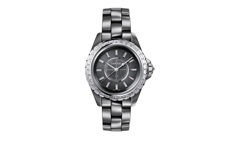 CHANEL, J12 Chromatic  33mm watch in titanium ceramic. White gold bezel, crown and hands. Diamonds and high precision movement. Titanium tripe-folding buckle and caseback. Water resistance 50 metres