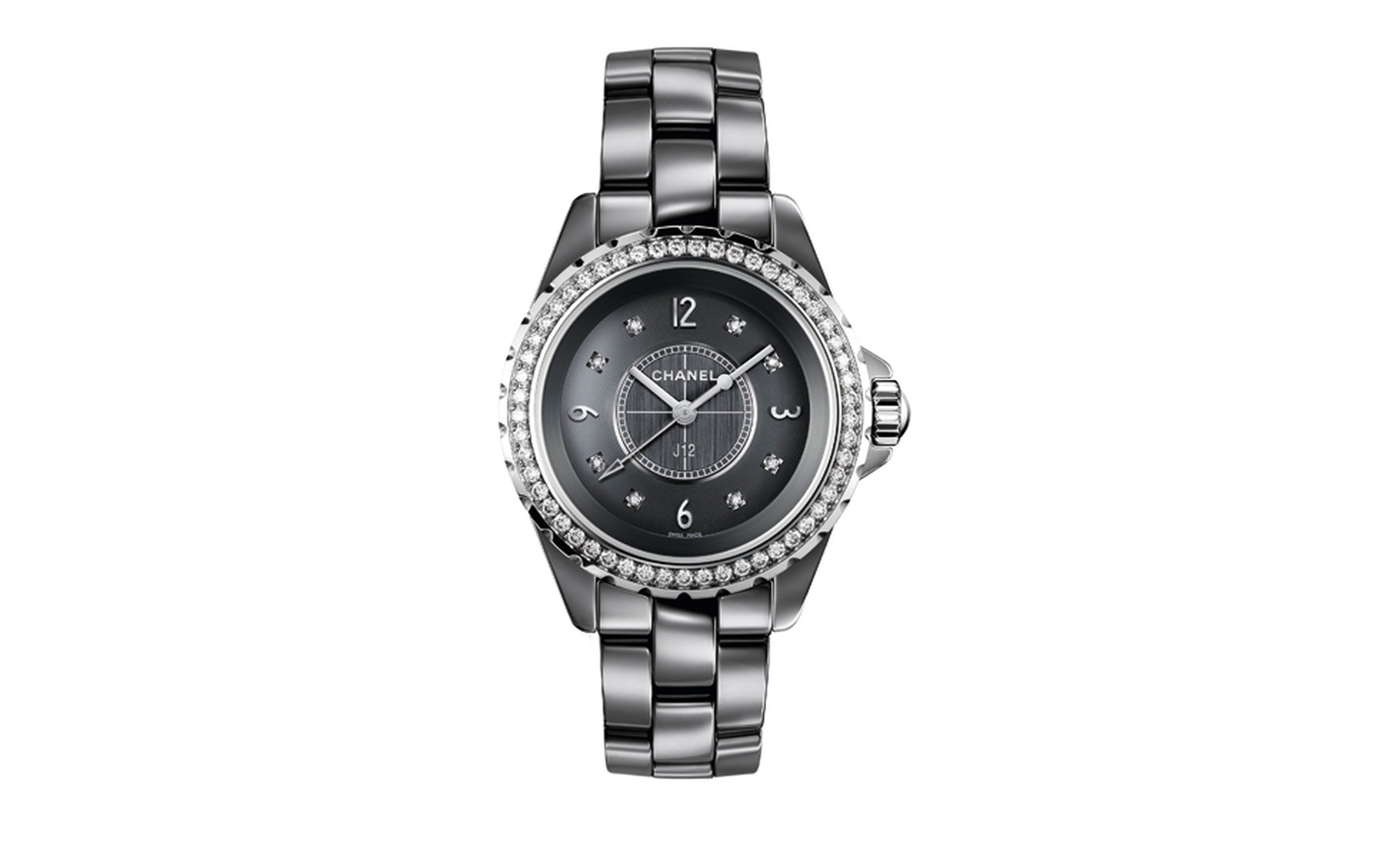 CHANEL, J12 Chromatic 33mm watch in white gold bezel, crown and hands. Set with Diamonds. Self winding mechanical movement. 42 hour power reserve. Water resistant 50 metres