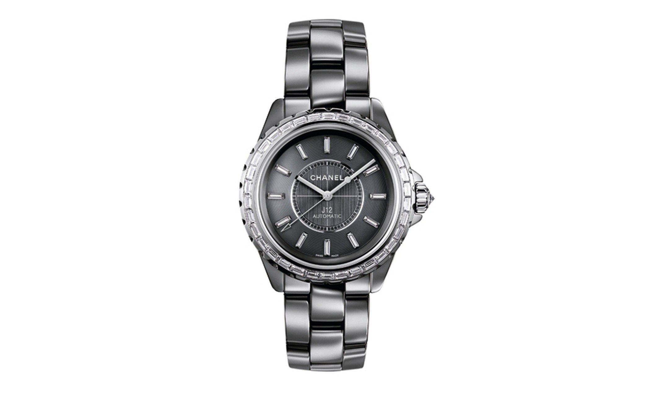 CHANEL, J12 Chromatic 38mm watch in Titanium ceramic, white gold bezel, crown and hands. Set with diamonds. High precision quartz movement