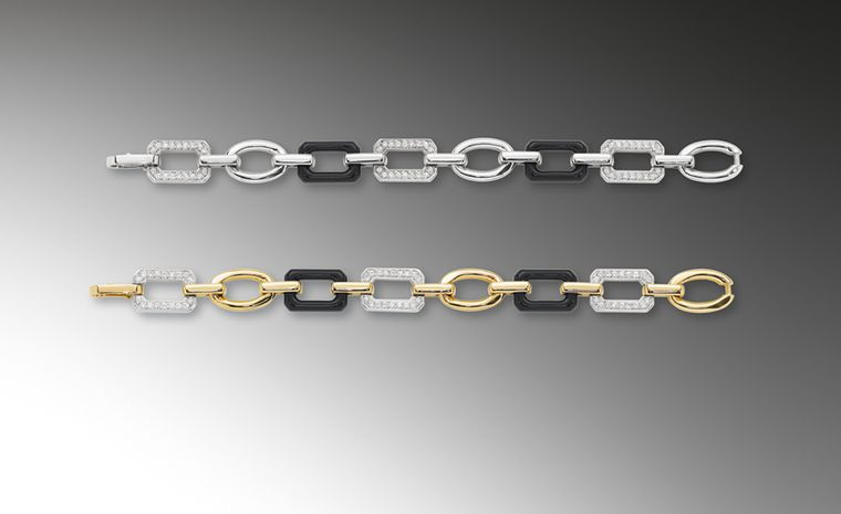 CHANEL, The Premiere bracelets in white and yellow gold with onyx £6,900 and £7,150