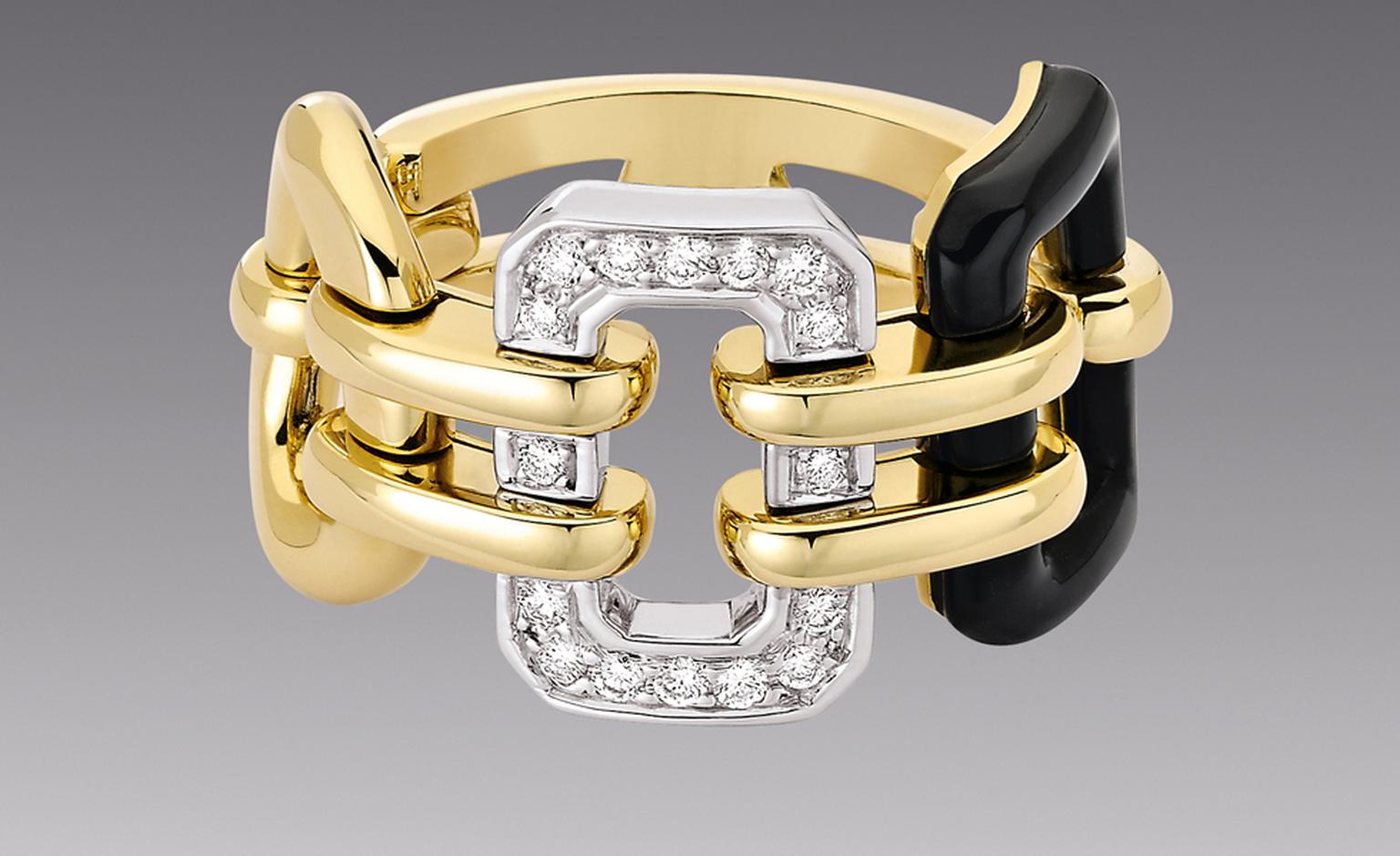 CHANEL, The Premiere ring in 18kt yellow gold and onyx. £4,075