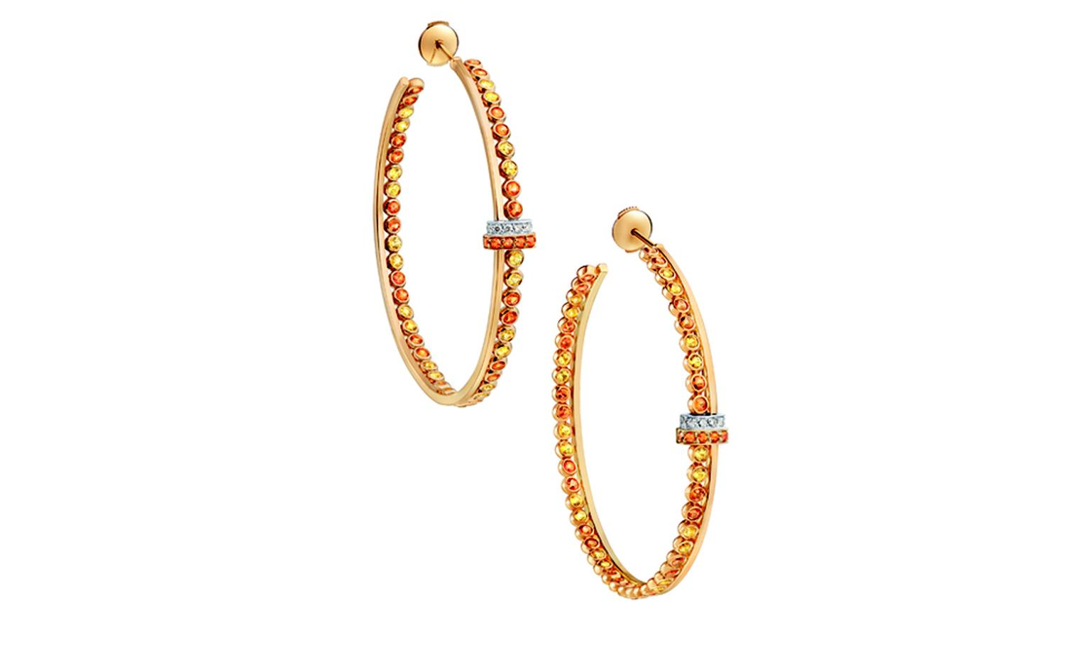 LOUIS VUITTON, Ornament Tribal Hoops, yellow gold, yellow sapphires, spessartite garnets and diamonds. £9300