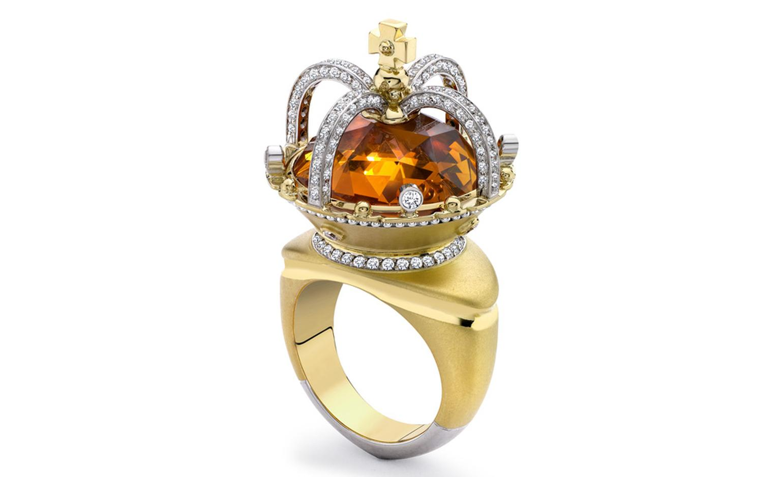 Theo Fennell 18ct Yellow & White Gold Citrine & Diamond Coronet Ring £16,700
