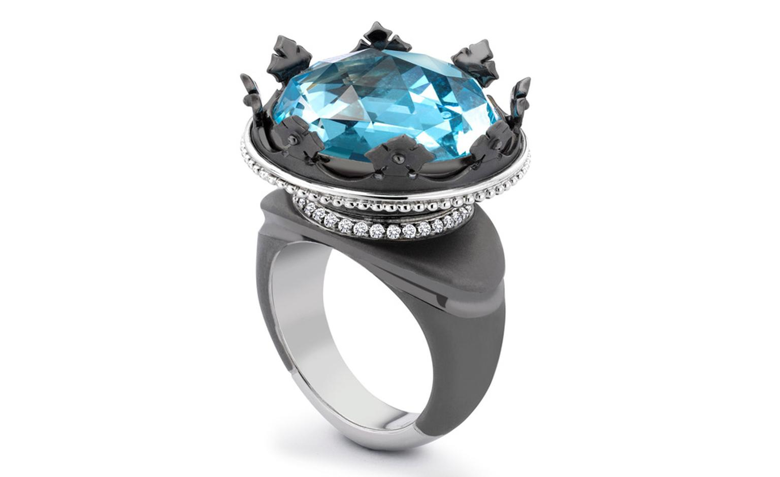 Theo Fennell 18ct White Gold Black Rhodium, Blue Topaz and Diamond Coronet Ring £11,900