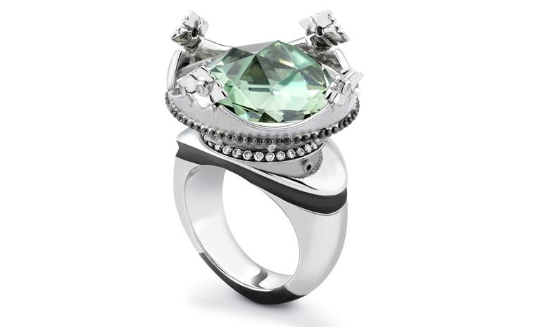 Theo Fennell 18ct White Gold Green Amethyst, Diamond and Ruby Coronet Ring £12,300