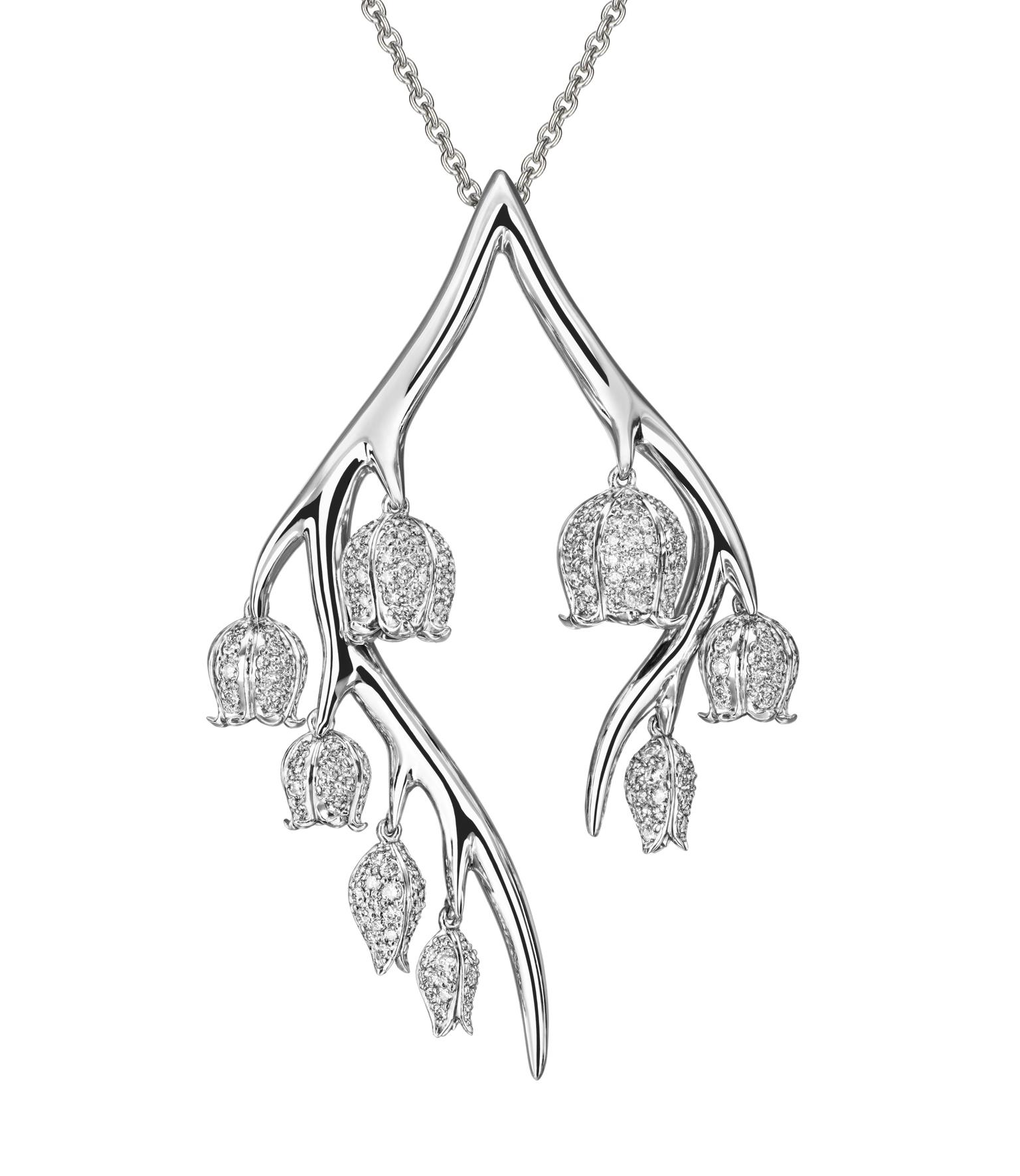 SHAUN LEANE, 18ct white gold and white diamond small Maybell pendant. Starting from £2600