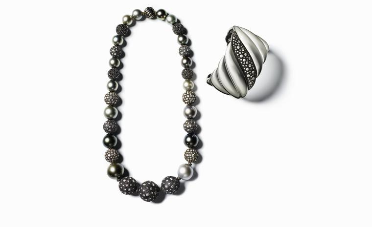 DAVID YURMAN, Midnight Mélange Bead necklace, $38,000. Midnight mélange cuff, $4750