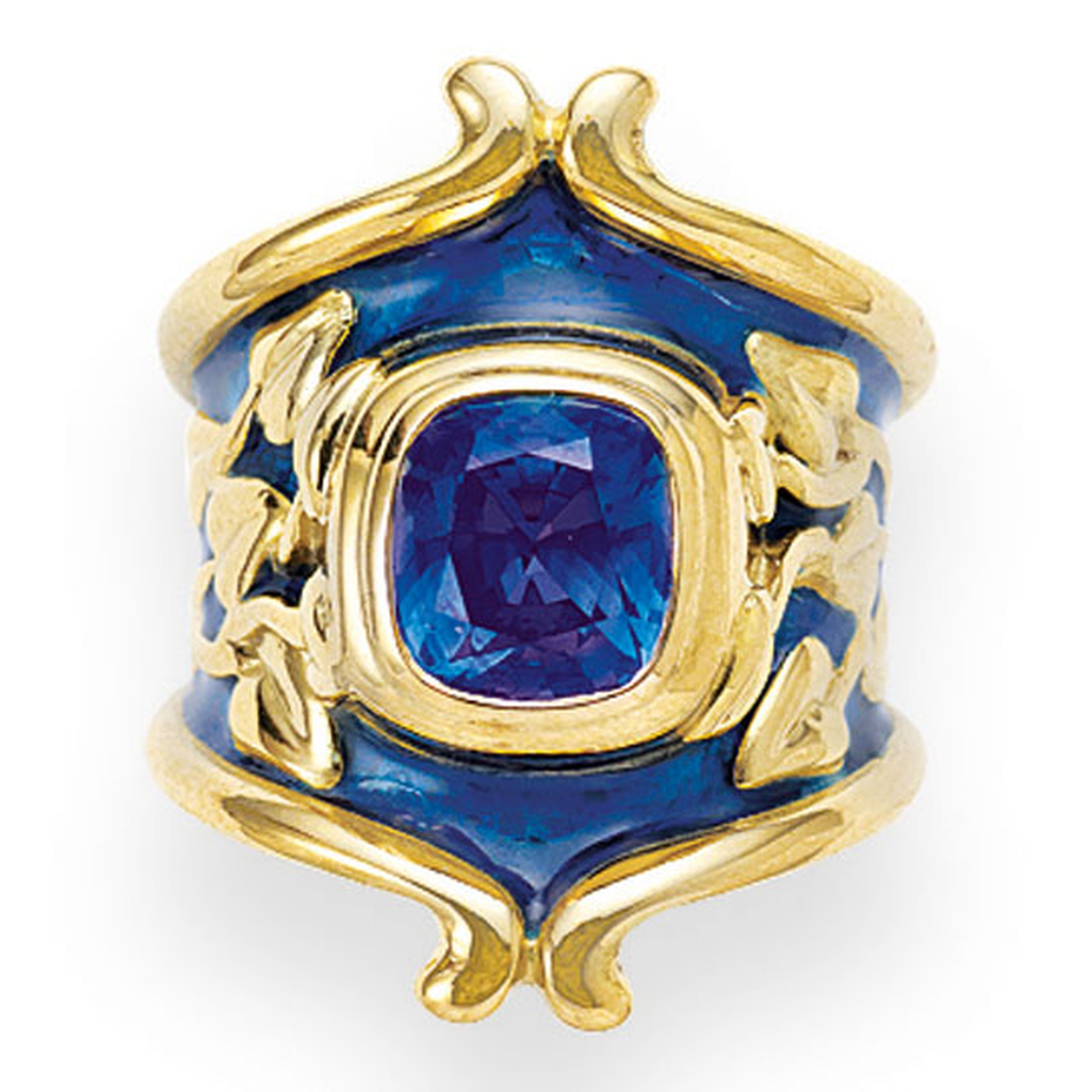 ELIZABETH GAGE, Heliotrope Ring, deep blue sapphire with Royal blue enamel, decorated with carved gold myrtle leaves. £18,600