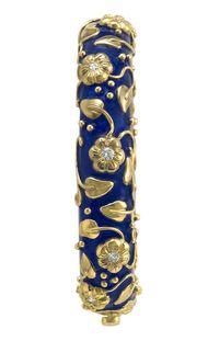 ELIZABETH GAGE, Royal Blue Bangle decorated with gold flower motifs set diamonds, gold carved leaves, twining stems and bead detail. POA