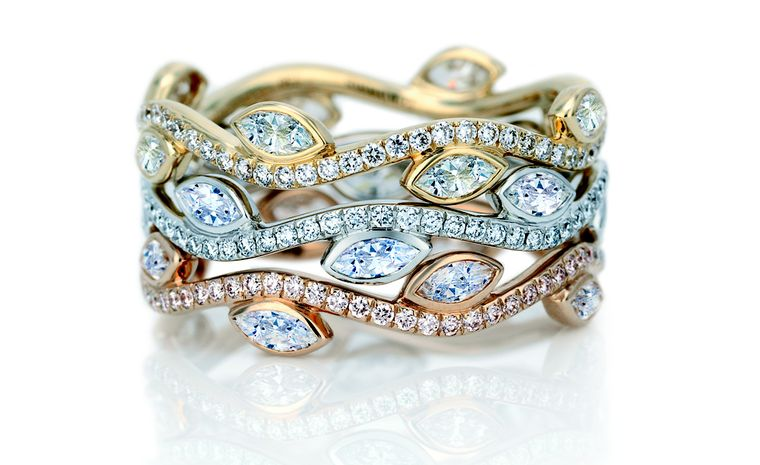 DE BEERS, Three Adonis Rose Bands in yellow, platinum and pink gold. Prices from £3,275