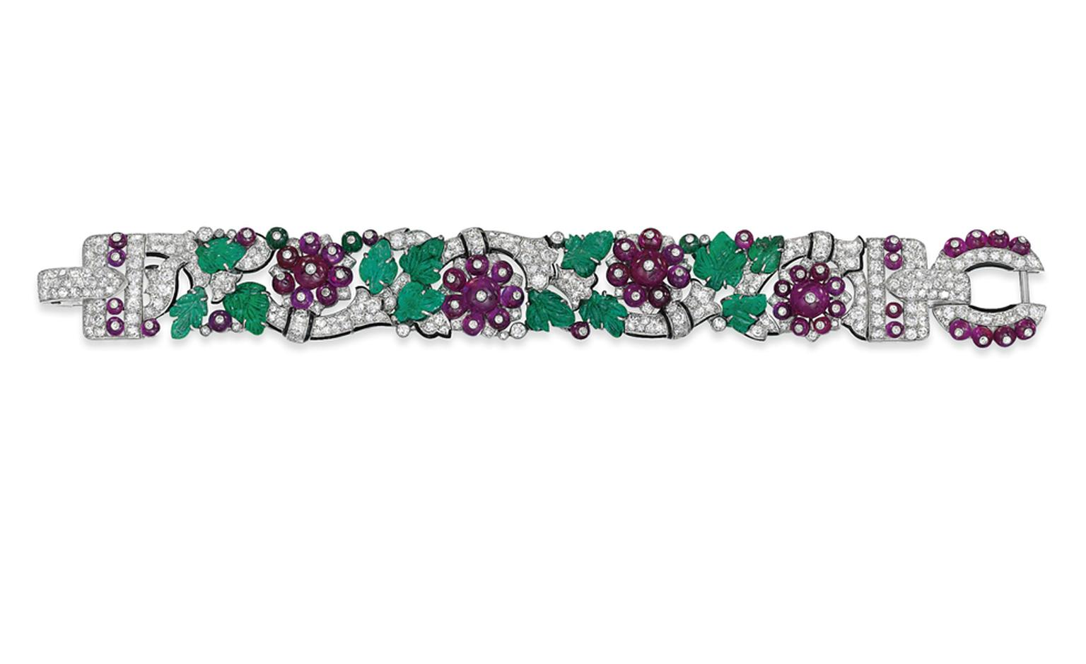 Lot 160. An exceptional art deco 'Tuttie Frutti' bracelet, by Cartier. Estimate £300,000-£400,000. SOLD FOR £1,150,050