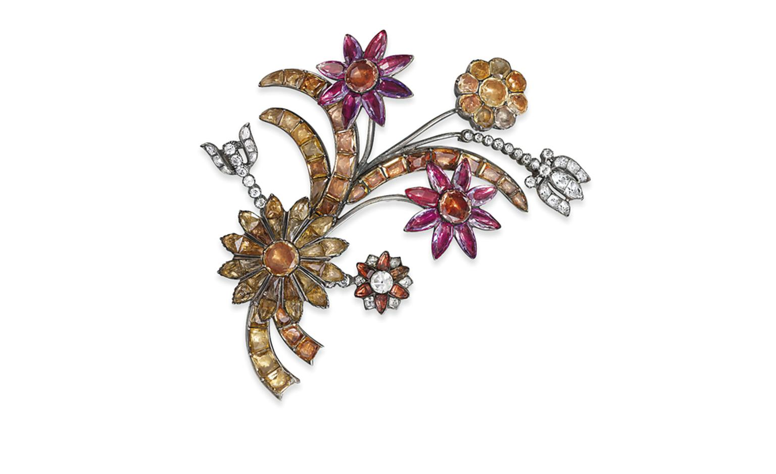 Lot 167. A rare 18th century topaz and paste flower brooch. Estimate £10,000-£15,000. SOLD FOR £12,500