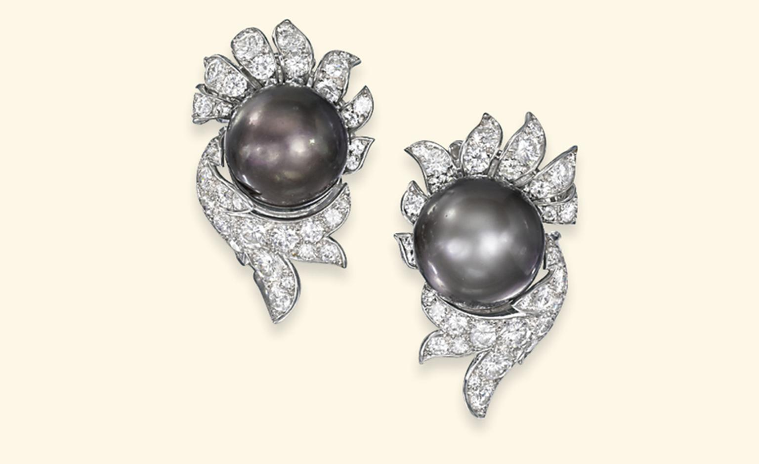 Lot 283. A pair of pearl and diamond ear clips, by Van Cleef & Arpels. Estimate £50,000-£70,000. SOLD FOR £265,250