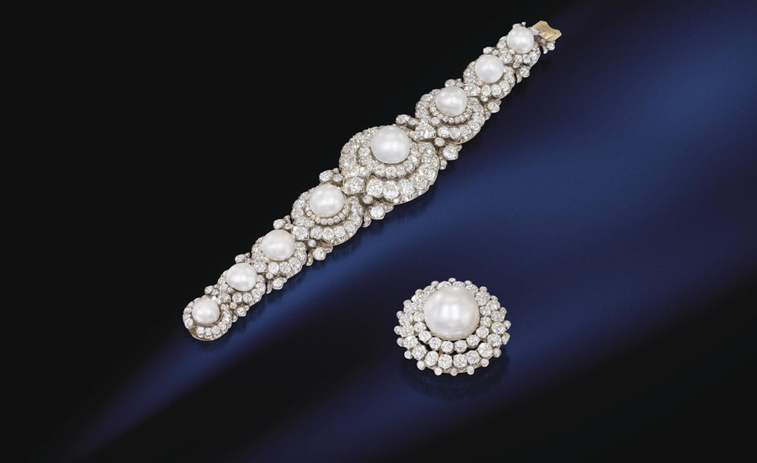 Lot 285. An historic pearl and diamond bracelet and brooch. Estimate £300,000 - £400,000. SOLD FOR £577,250