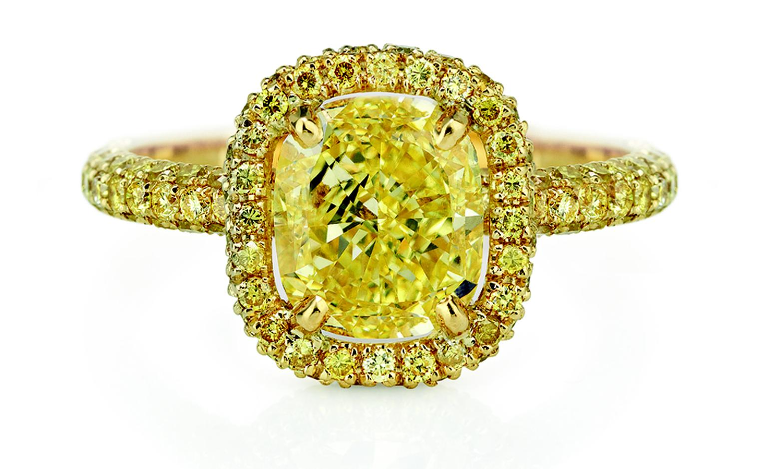 DE BEERS, Aura Cushion Yellow Diamond and Yellow Gold. Price from £9,300