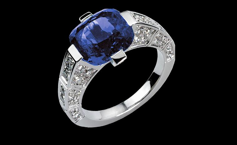 PIAGET, Limelight ring in white gold with diamonds and blue sapphire. Price from £21,000