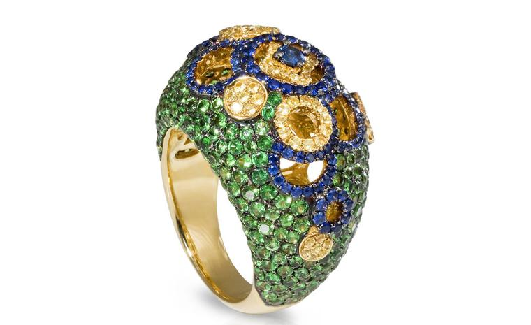 SHO Coin Boule ring in gold with blue and yellow sapphires and green tsavorites £4770