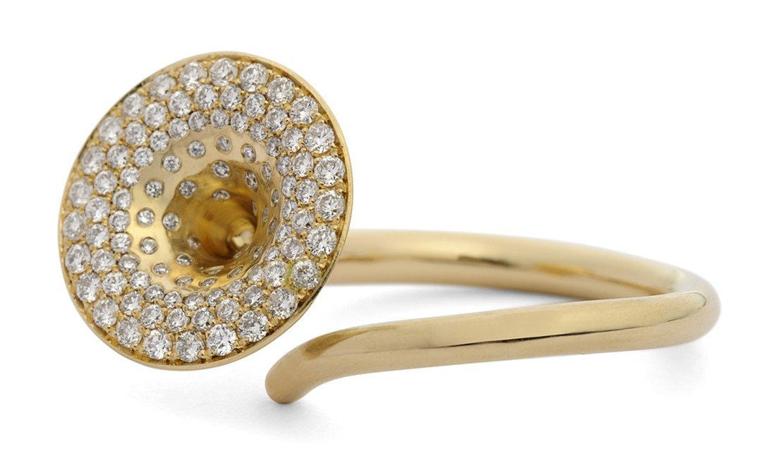 Jessica Poole diamond paved fluted Trumpet Ring £3,600