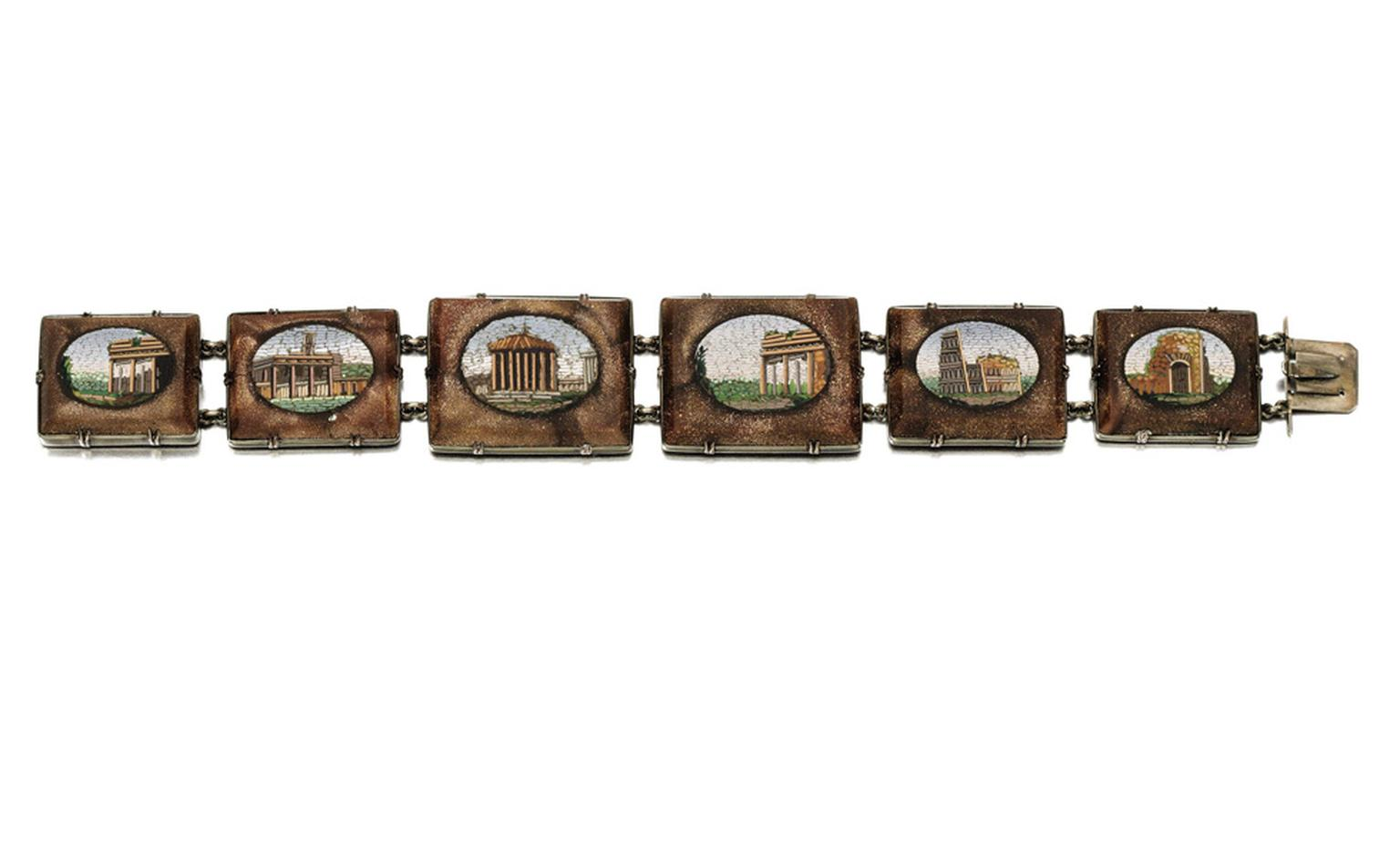 Lot 21. Gold and micromosaic bracelet, mid 19th Century. Estimate £3,000-£5,000