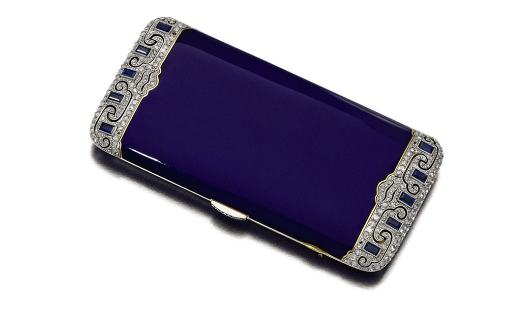 Lot 51. Gold, enamel and diamond cigarette case, Van Cleef & Arpels, 1920's. Estimate £6,000-38,000