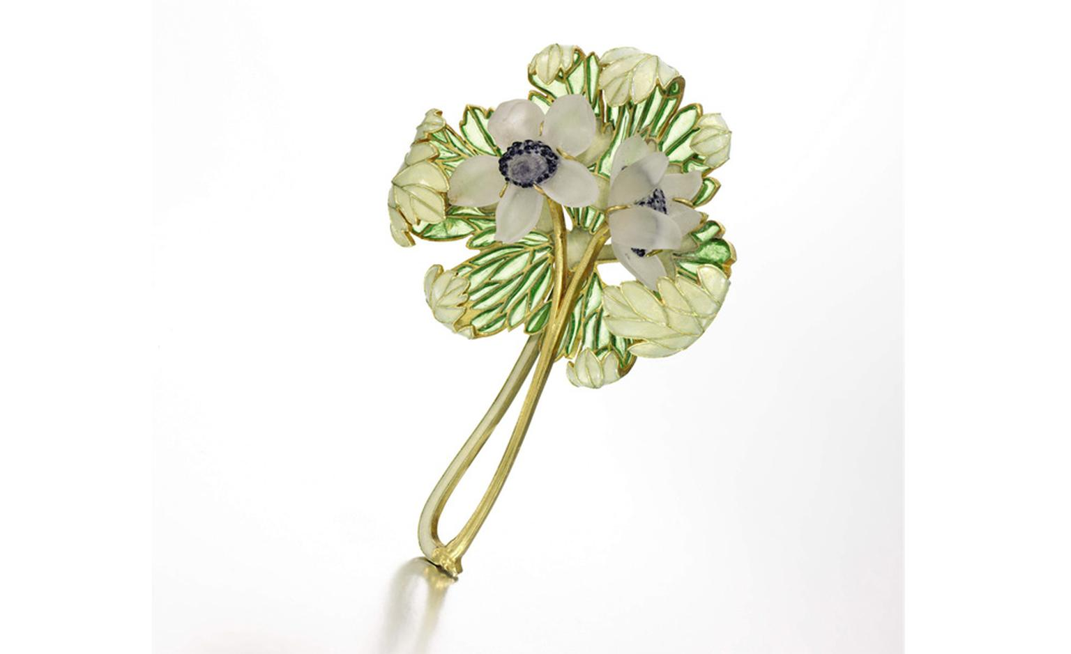 Lot 54. Property of a Lady. Gold and enamel brooch, René Lalique. Circa 1900. Estimate £10,000-£15,000