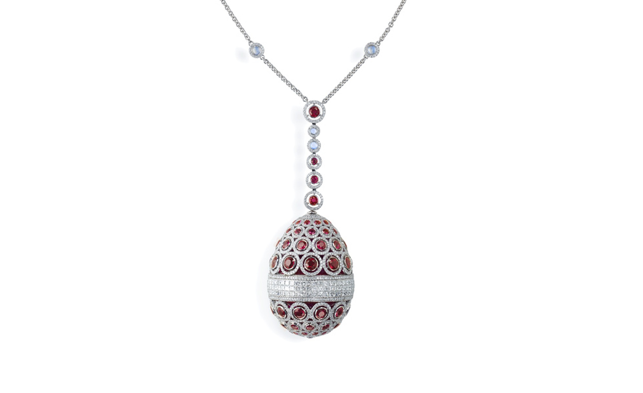 Fabergé. L'Oeuf Diaghilev (The Diaghilev Egg.) This piece is set with white gold and features 2012 stones including diamonds, rubies, shapphires and moonstones. POA