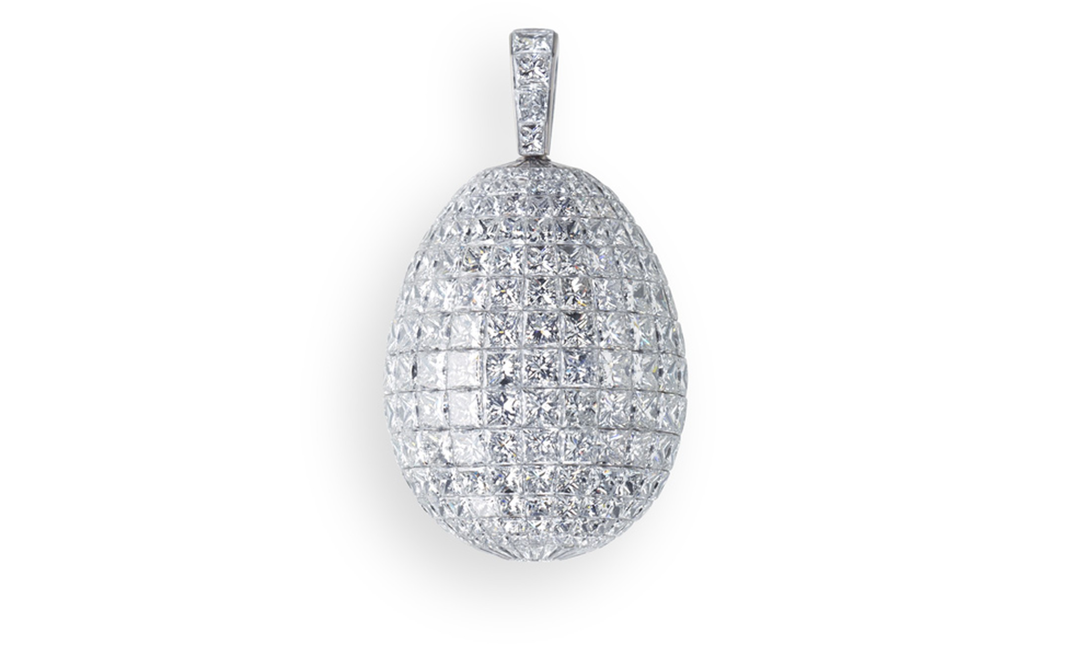 Fabergé. L'Oeuf Diamant (The Diamond Egg). This piece is set in Titanium and feature 394 white diamonds totalling 66.40cts. POA