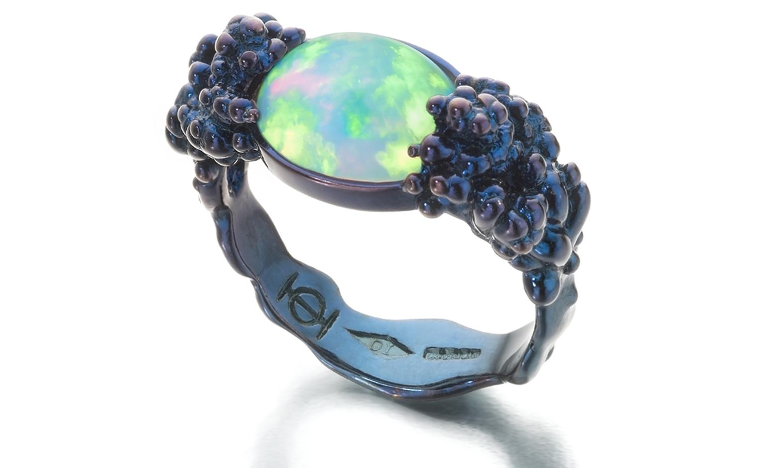 ORNELLA LANNUZZI.  Would you...? Ring. Set in blue silver with a Wello opal cabochon. Price from £850