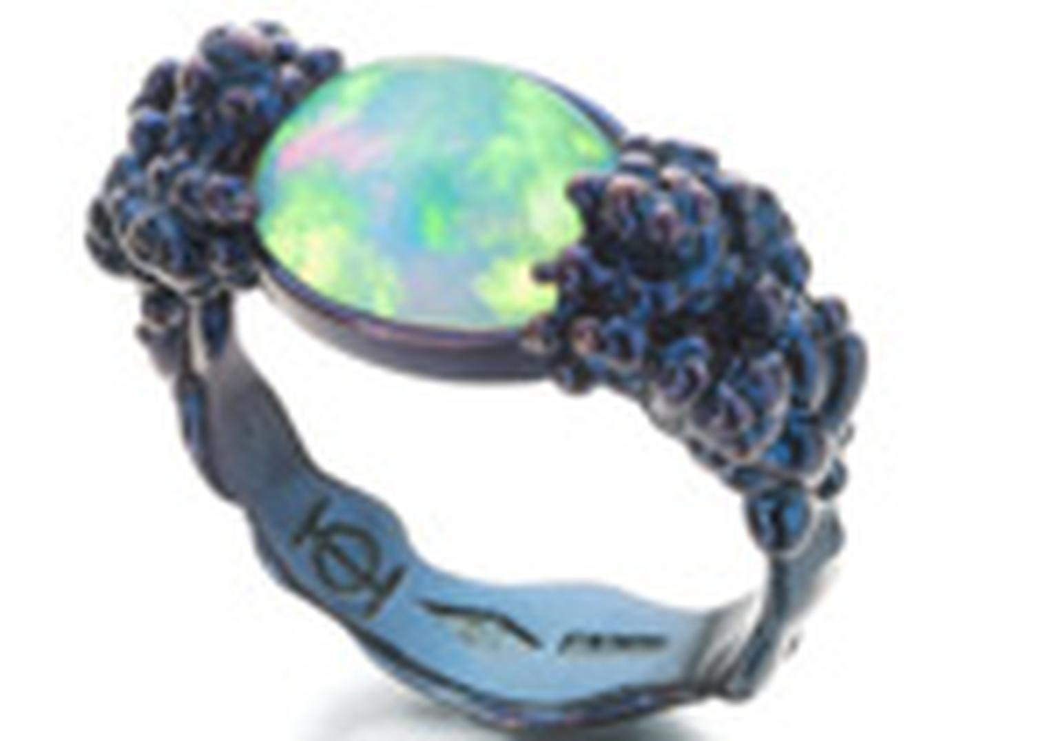 Ornella Iannuzzi: Would you..Ring. Set in blue silver with a Wello opal cabochon. Price from £850