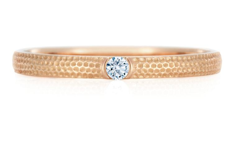 DE BEERS. Azulea Band, white diamond on pink gold, 0.03 toal carat weight. Price from £600.